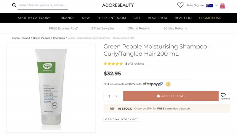 Adore Beauty Product Page