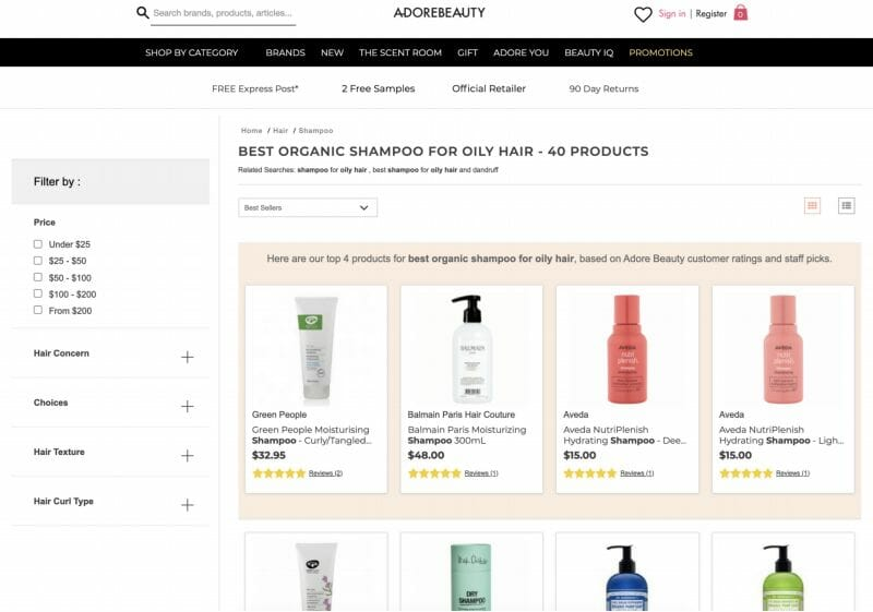 Adore Beauty Category Page